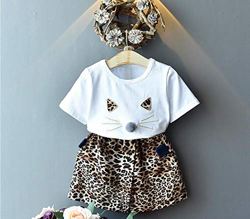 Womens 2 Piece Boho Print Top with Shorts Set,Childrens Suit 2019 Summer New Girls Fashion Cotton T-shirt Cartoon Cat Short-Sleeved Leopard Shorts Two-piece (4T, Brown)