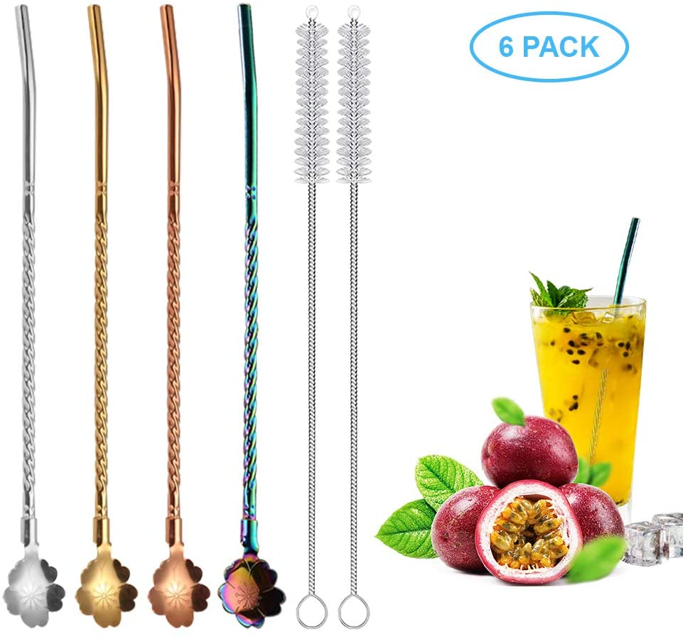 4 Pcs Spoon Straws, 4 Color Tea Filter Colander Reusable Drinking Straws 2 in 1 Stainless Steel Straws for Iced coffee, Iced tea, Milkshake, Cocktail, Smoothies, with 2 Cleaning Brushes