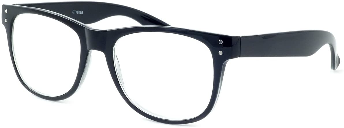Retro Rockers XL Deluxe Reading Glasses, 5.00, Black XL Classic Retro