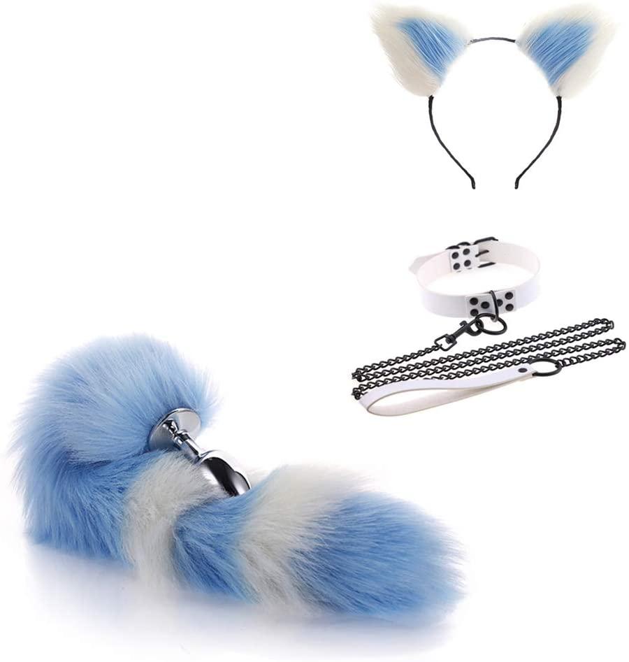 Tail Ear Plùg Set Collar Choker Traction Chain with Lock 8 Colors Fox Bùtt Anime Stainless Steel Bunny Headband Hair Clips Plush Cosplay Maid Toy As a Gift for Partner (Medium, Blue White)