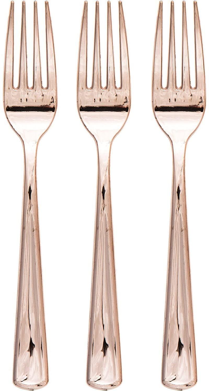 Creative Converting 315135 Metallic Plastic Forks, Rose Gold (72 Count)