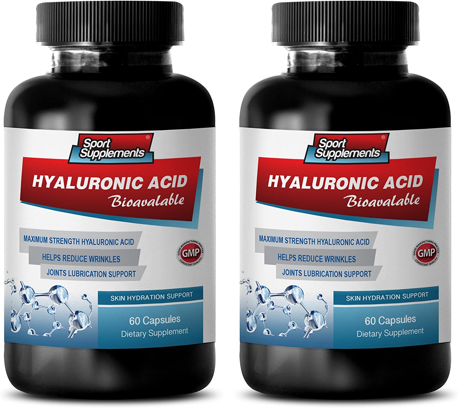 Joint Supplements hyaluronic Acid - HYALURONIC Acid BIO-Available - Skin Hydration Support - hyaluronic Acid Supplements for Joints - 2 Bottles 120 Capsules
