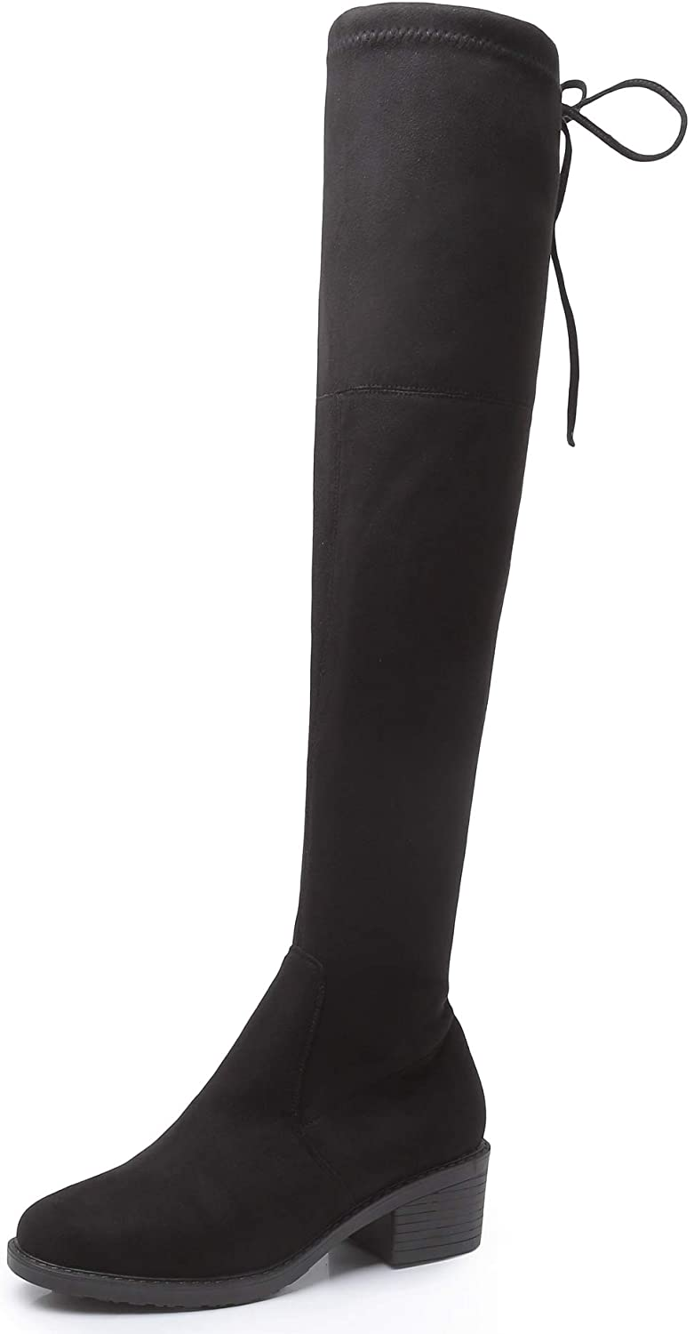 Minotta Ladies Girls Fashion Faux Suede Over The Knee Thigh Hige Stretchy Block Heel Boot