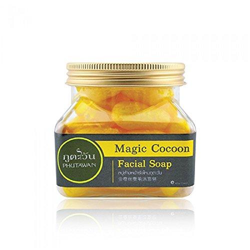 Phutawan 100% Natural Thai Gold Silk Magic Cocoon Honey Facial Scrub Soap 40g Made in Thailand by Madam A