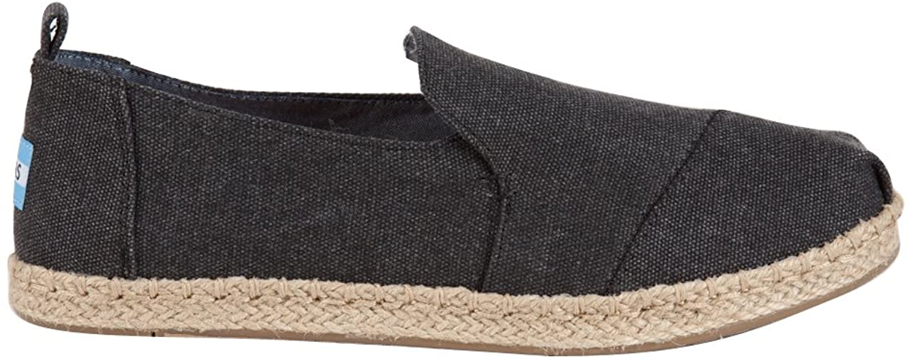 TOMS New Deconstructed Alpargata Black Washed Canvas 8 Womens Shoes