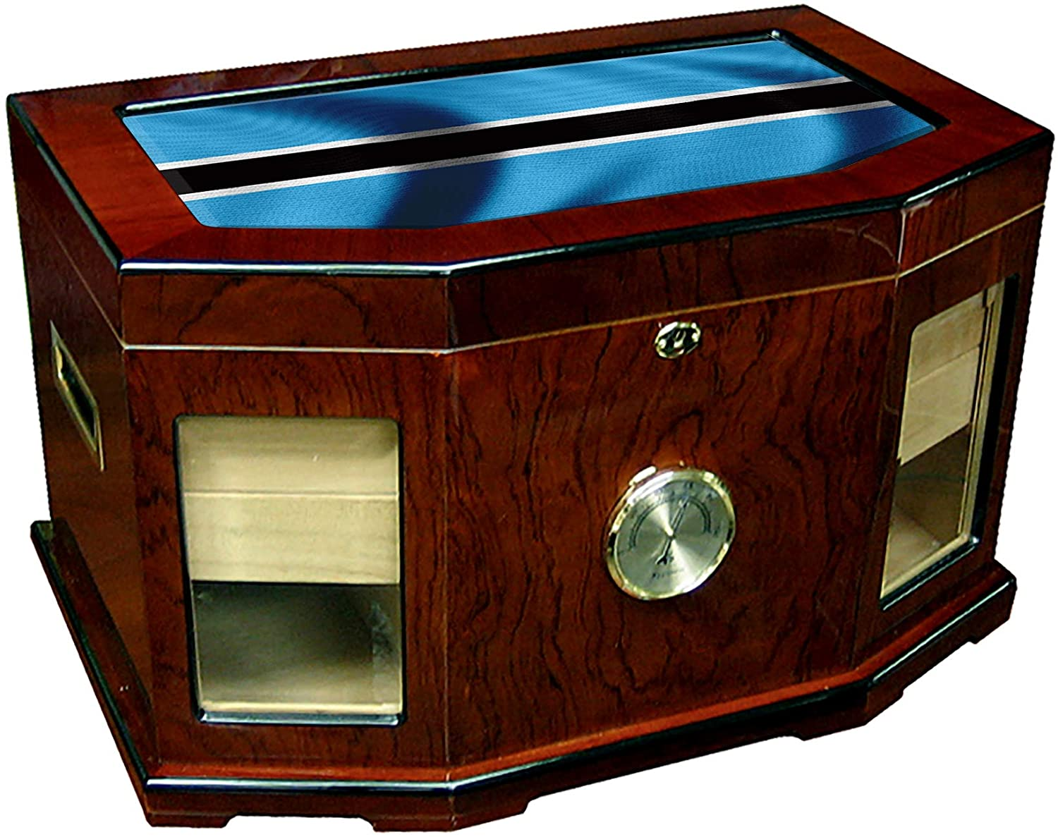 Large Premium Desktop Humidor - Glass Top - Flag of Botswana (Botswanan) - Waves Design - 300 Cigar Capacity - Cedar Lined with Two humidifiers & Large Front Mounted Hygrometer.