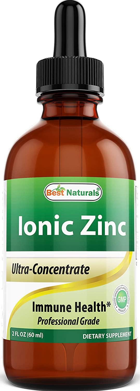Best Naturals Ionic Liquid Zinc - Immune Support - High Bioavailability - Glass Bottles 2 OZ (60ml)
