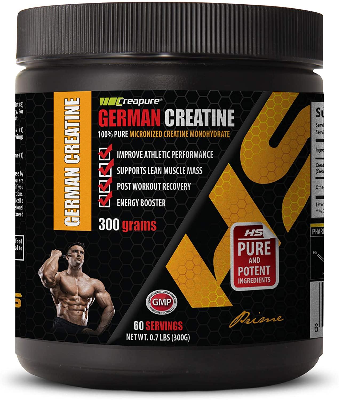Bodybuilding Vitamins Men - German CREATINE Powder - 100% Pure MICRONIZED CREATINE MONOHYDRATE - German creatine monohydrate - 1 Can 300 Grams (60 Servings)