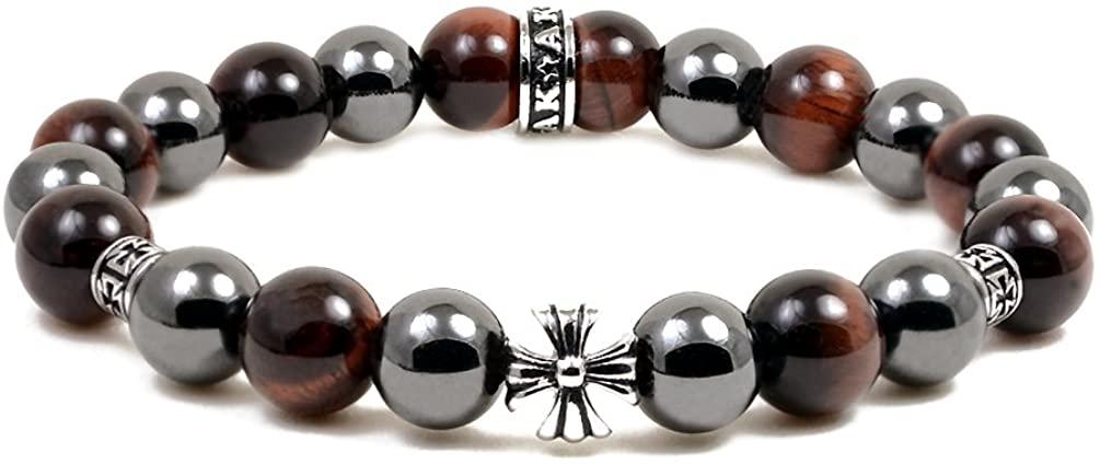 Accents Kingdom Magnetic Bracelet Red Tiger Eye Bead Maltese Cross Hematite Magnetic Therapy Bracelet