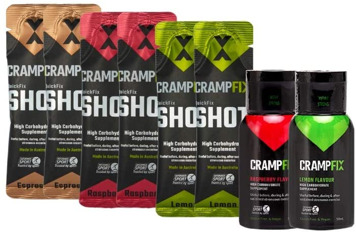 CrampFix Sports Shot, Prevents and Stop Muscle Cramps in Seconds, Gluten Free Cramp Defense for Leg Cramps, Calf Cramps, 16 Serve Variety Pack