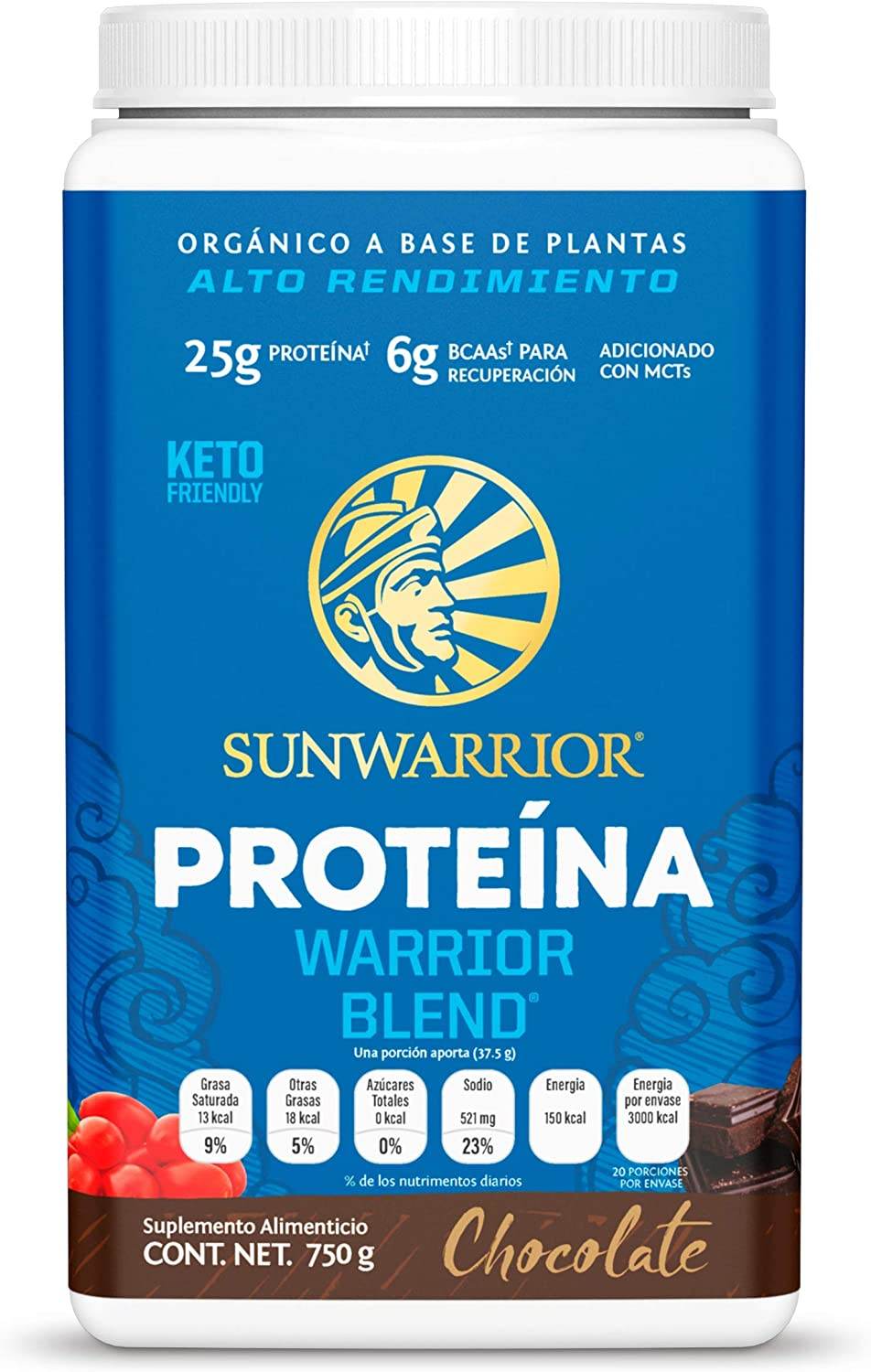 Sunwarrior Warrior Blend, Organic Vegan Protein Powder with BCAAs and Pea Protein (Chocolate, 30 Servings)