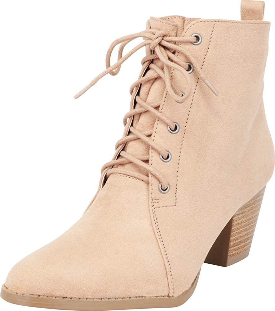 Cambridge Select Women's Chunky Stacked Block Heel Lace-Up Ankle Bootie