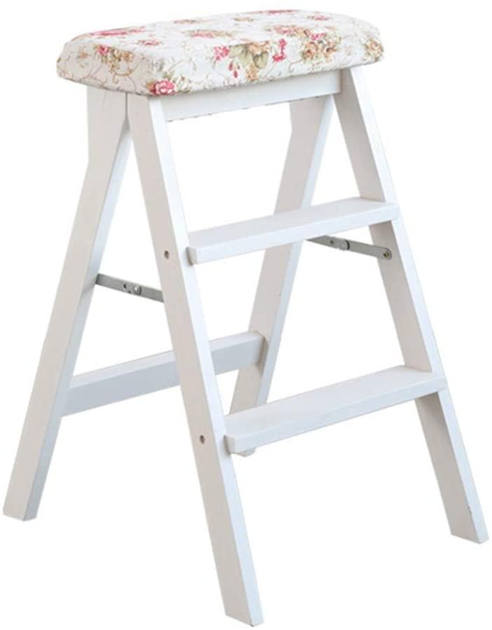 WLG Step Stool for Adults Solid Wood Ladder Multifunction Folding Kitchen Library Office 3 Step Mini Stepladder / K3 / k3
