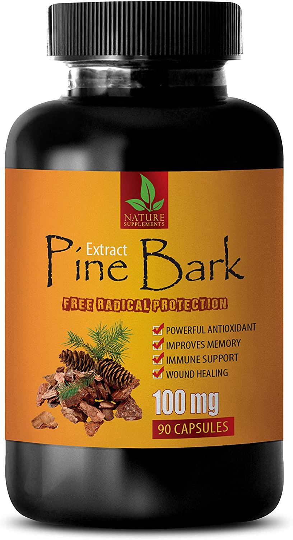 Brain Health Supplement - Memory Mind & Focus Enhancer - Pine BARK Extract 100 MG - Powerful ANTIOXIDANT - Energy Supplements for Women - 1 Bottle 90 Capsules
