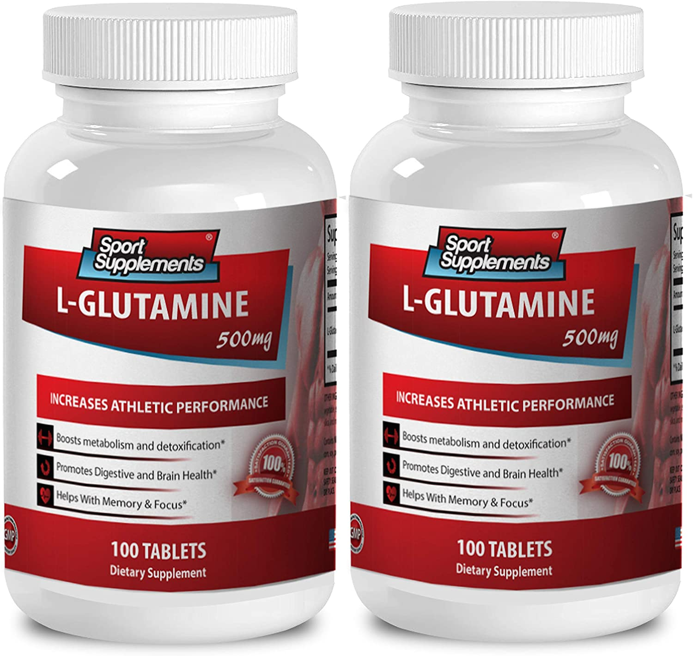Bcaa glutamine and Collagen - L Glutamine 500mg - Improves IBS (2 Bottles - 200 Tablets)