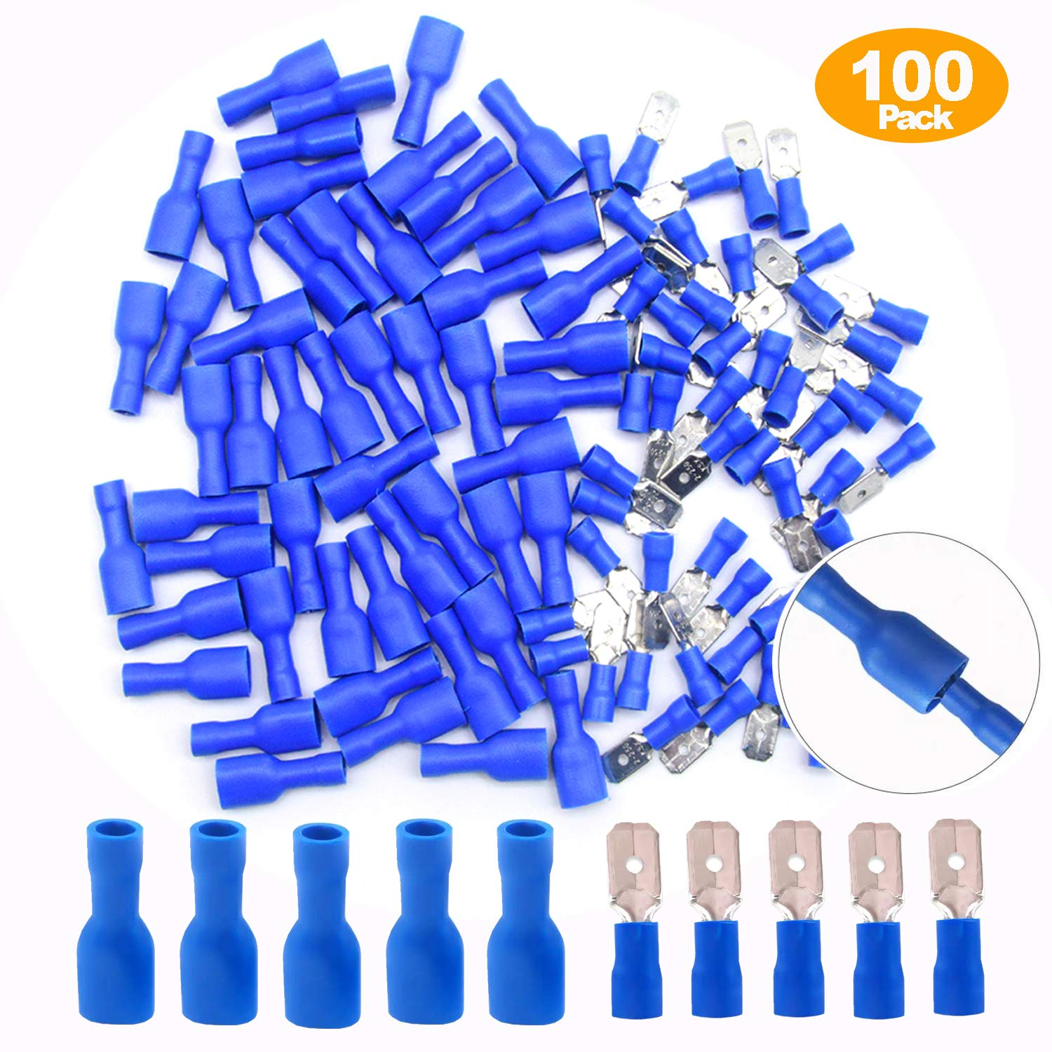 CEEYSEE 100PCS 16-14 AWG Insulated Female Male Spade Connector Quick Splice Wire Terminals Wire Crimp Connectors (PSL)