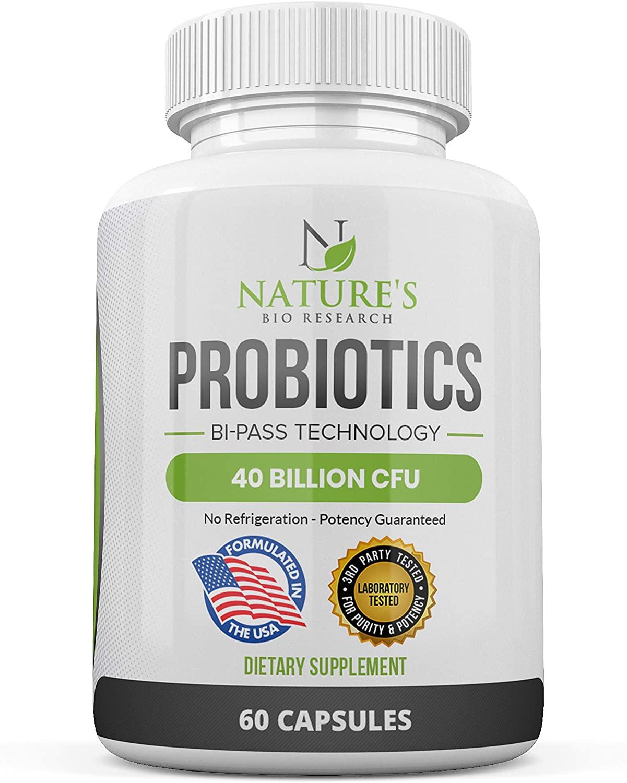 Probiotics for Women & Men – 40 Billion CFU - Probiotic with Lactobacillus Acidophilus & Prebiotics – Bi-Pass Technology - No Refrigeration - Potency Guaranteed – 60 Capsules