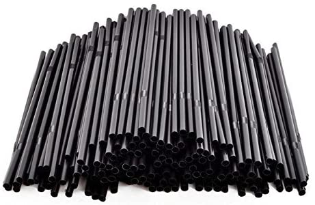 200Pcs 8.3 Inches Black Food-Safe Plastic Flexible Bendable Party Disposable Long Drinking Straws Smoothie Straws for Cocktails Coffee Milk Tea and Juice