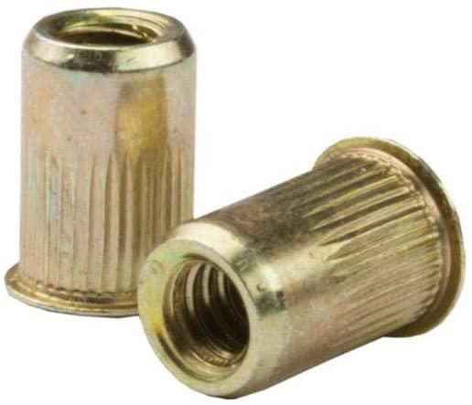 AKS4T-632-80, RIVETNUT, 6-32 (.020-.080 GR) RND Body Splined, Low PRO HD, Steel, Zinc YLW (100 PK)
