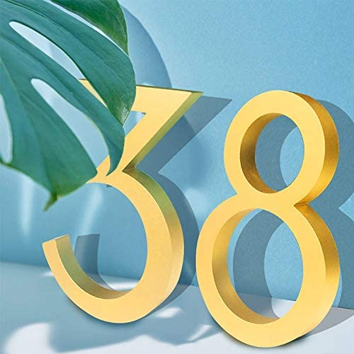 Sign Printed Plaque Gold solid core aluminum material metal 3D modern house number outdoor waterproof anti-rust durable home hotel door panel letter (Color : 4)