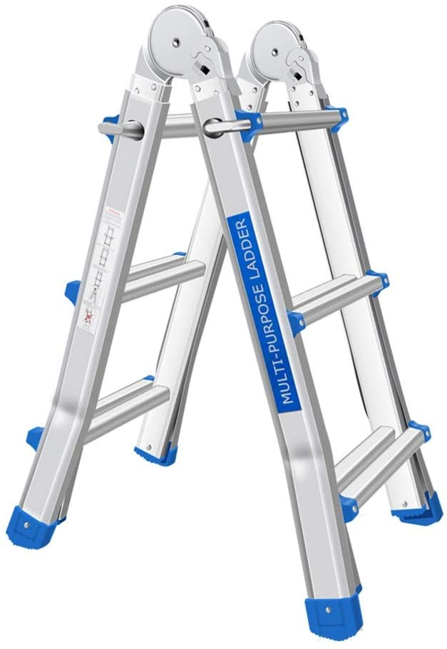 Jian E Extension Ladder Multi-function household folding ladder, aluminum alloy extension ladder, thickening ladder, lifting engineering ladder, indoor staircase // (Size : 3 pedals)