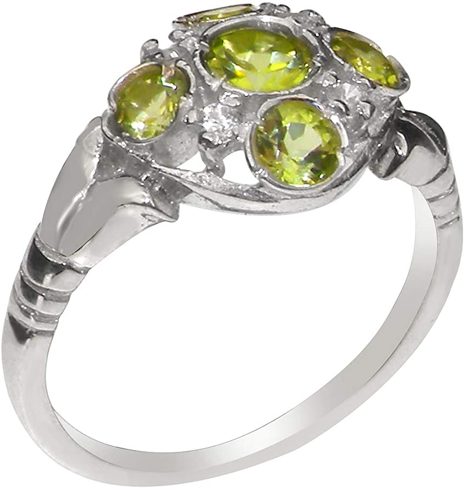 Solid 925 Sterling Silver Natural Peridot & Diamond Womens Cluster Ring - Sizes 4 to 12 Available