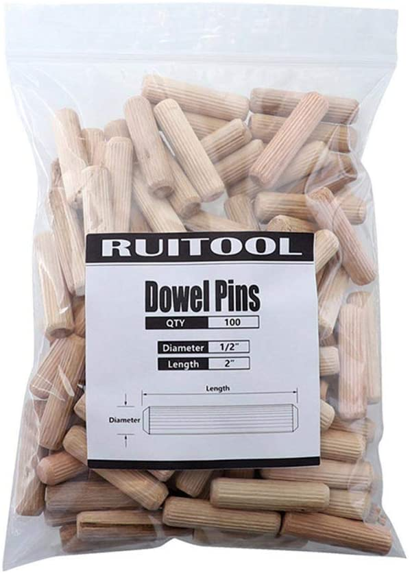 """Wood Dowel, Wood Plug, 100Pcs 1/2"""" 3/8"""" 1/4Solid Wood Dowel Pins with Beveled Ends Tapered and Vertical Stripes for Easier Insertion Straight Grooved Pins for Furniture (C:1/2)"""