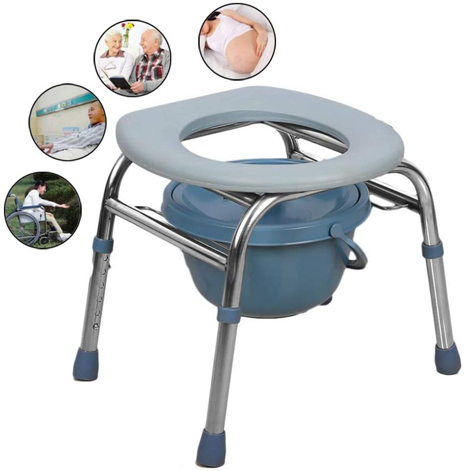 WYCD Foldable Bedside Commode Chair, Bedside Potty Chair for Adults, 3 in 1 Toilet Chair Shower Bath Chair, Heavy-Duty 150kg