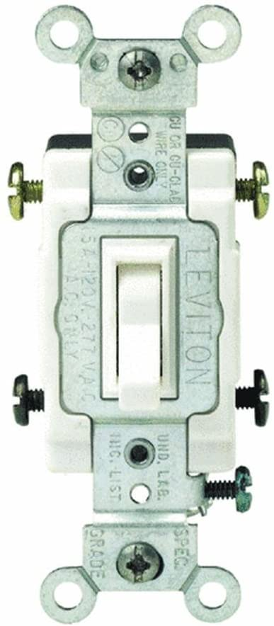 Leviton S02-CS415-2WS White Commercial Grade 4-Way AC Quiet Switch Toggle