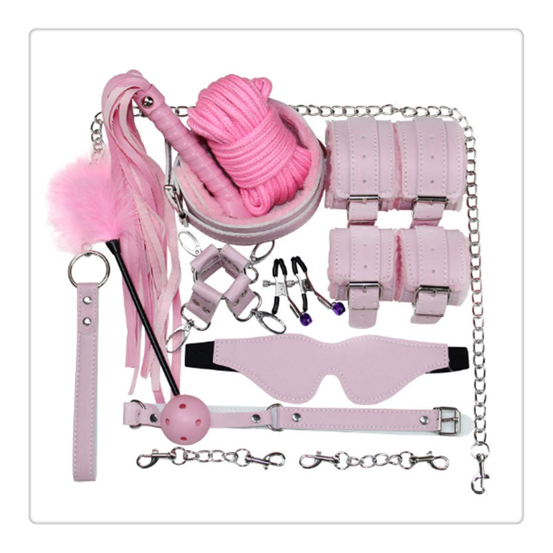 Micrkrowen Handcuff Strap Hair Tail Toys Set - Wrist Ankle Cuffs Kit for Beginners&Pink