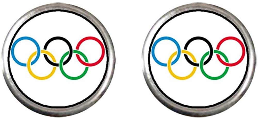 GiftJewelryShop Silver Plated Olympic five rings Photo Stud Earrings 10mm Diameter