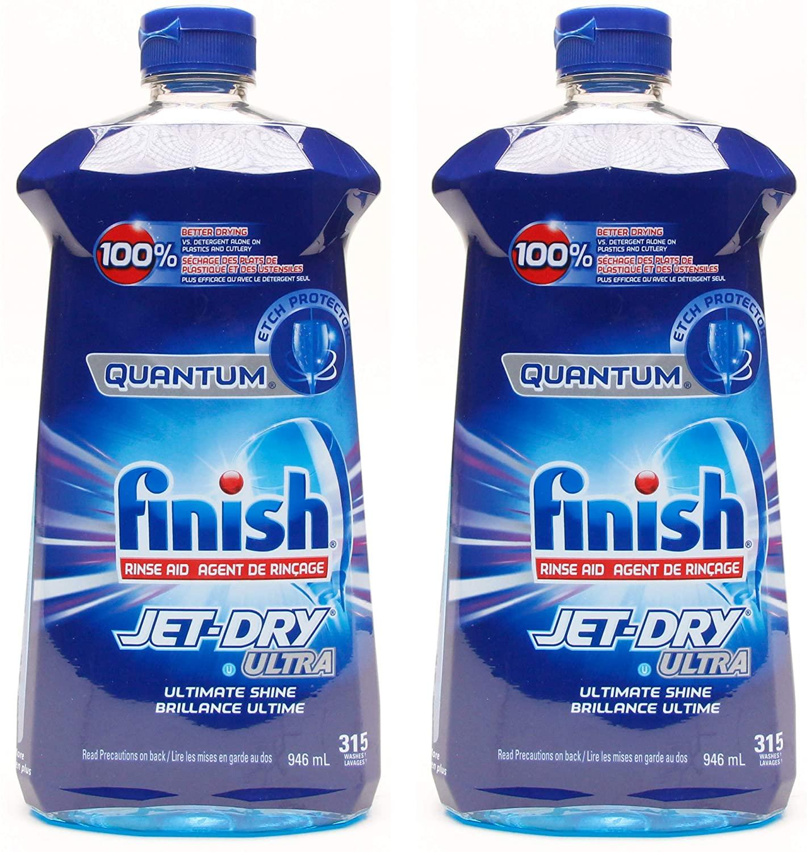 Finish Quantum Jet-Dry Ultra Dishwasher Rinse Agent, 315 Washes - 32 Fl Oz / 946 mL x 2 Pack (630 Washes)