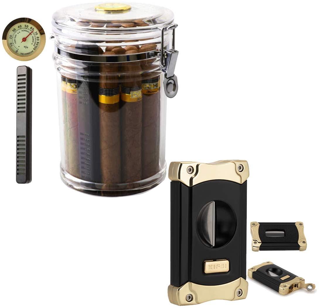 XIFEI Acrylic Humidor Jar and V-Cut Cigar Cutter