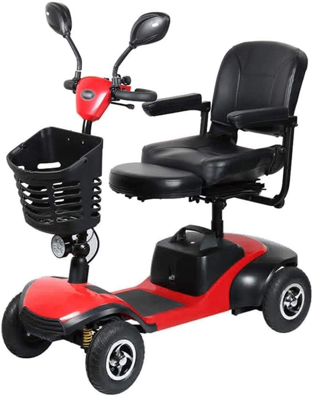 BXZ Wheelchair Light and Compact, Foldable,4 Wheel Power Electric Travel and Mobility Scooter,36Cm Wide Seat,Openable Handrail,Electromagnetic Brake,Rotatable Seat for Disabled Elderly,-,-