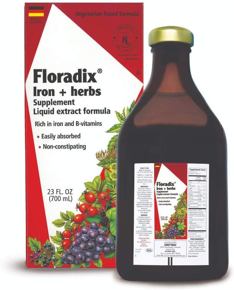 Floradix Liquid Iron + Herbs Supplement 23 oz EXTRA LARGE - All Natural, Vegetarian, Vitamin C - for Women & Men