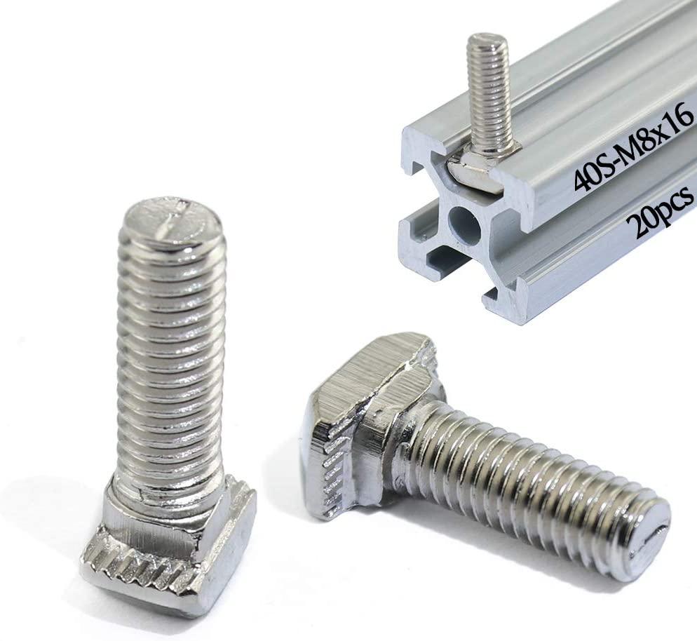 Boeray Metric M8 x 16mm Thread T Slot Drop-in Bolt T-Bolt Hammer Head Bolt T Screw Stud for 4040 Series Standard 8mm T-Slot Aluminum Extrusion Profile Pack of 20