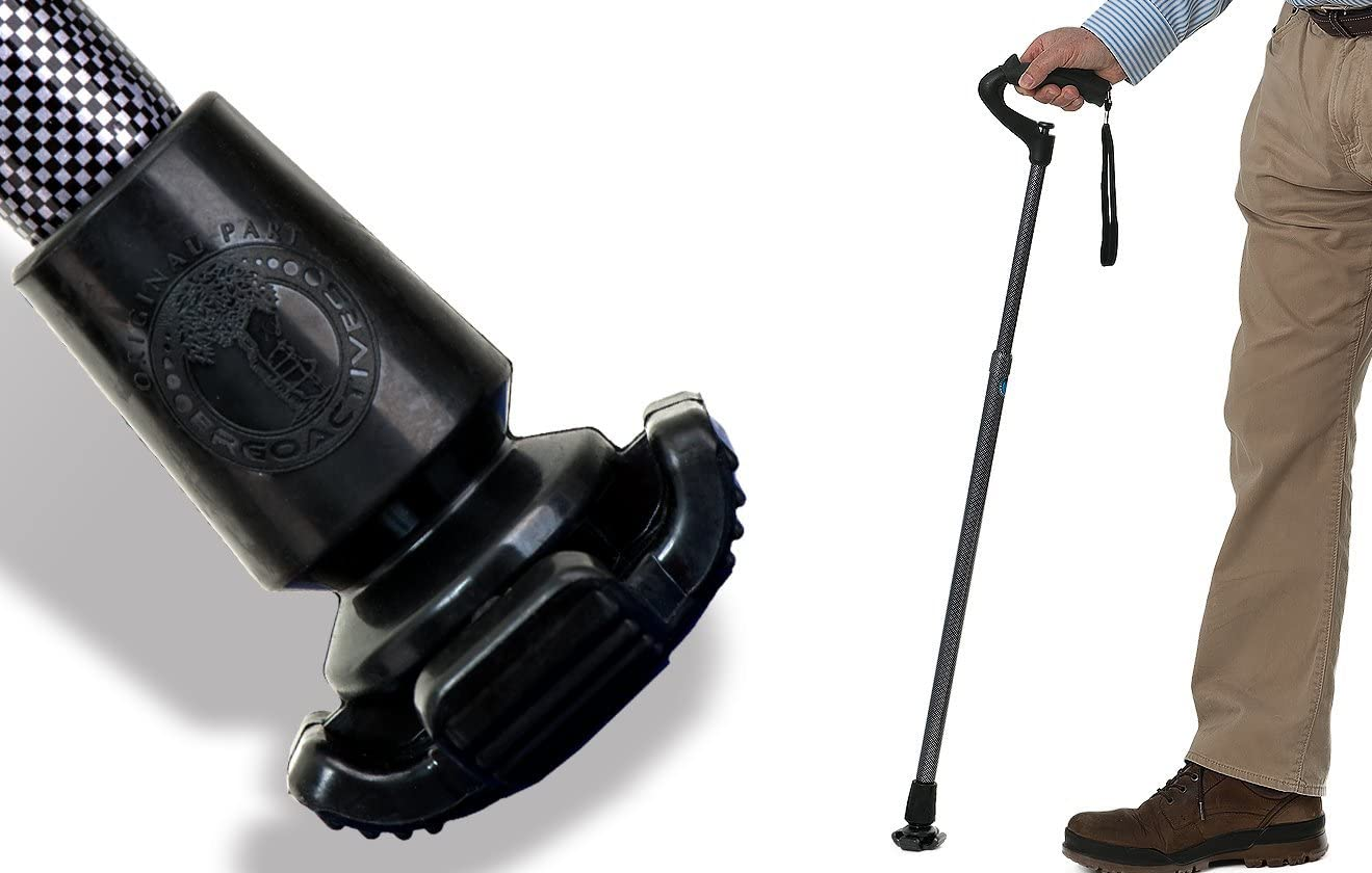 Ergocap® Ultralite Crutch/Cane Rubber Tip - Rubber Replacement Foot Pad for Canes/Crutches - Stable Four Point, Engineered to Mimic The Joint Articulation of The Foot/Ankle (Universal-2 Tips)