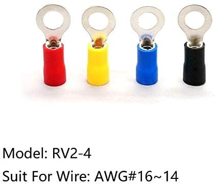 Davitu Terminals - 10pcs RV2-4 Wire Terminal Splice Pre-Insulated Electrical Cable AWG 16-14 Circular Round Cold Pressing Crimp Lug End Connector - (Color: Red)