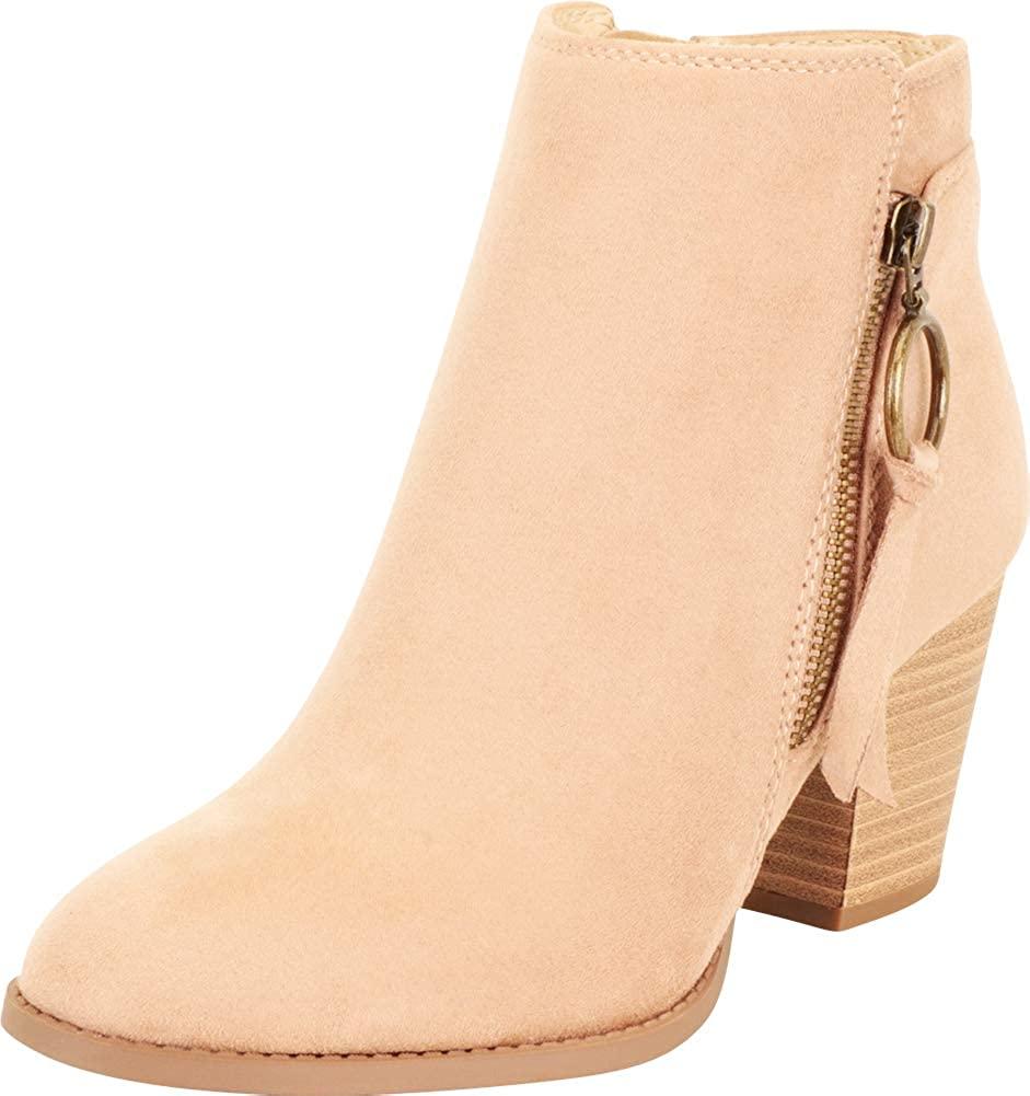 Cambridge Select Women's Western Almond Toe O-Ring Zip Tassel Chunky Stacked Block Mid Heel Ankle Bootie