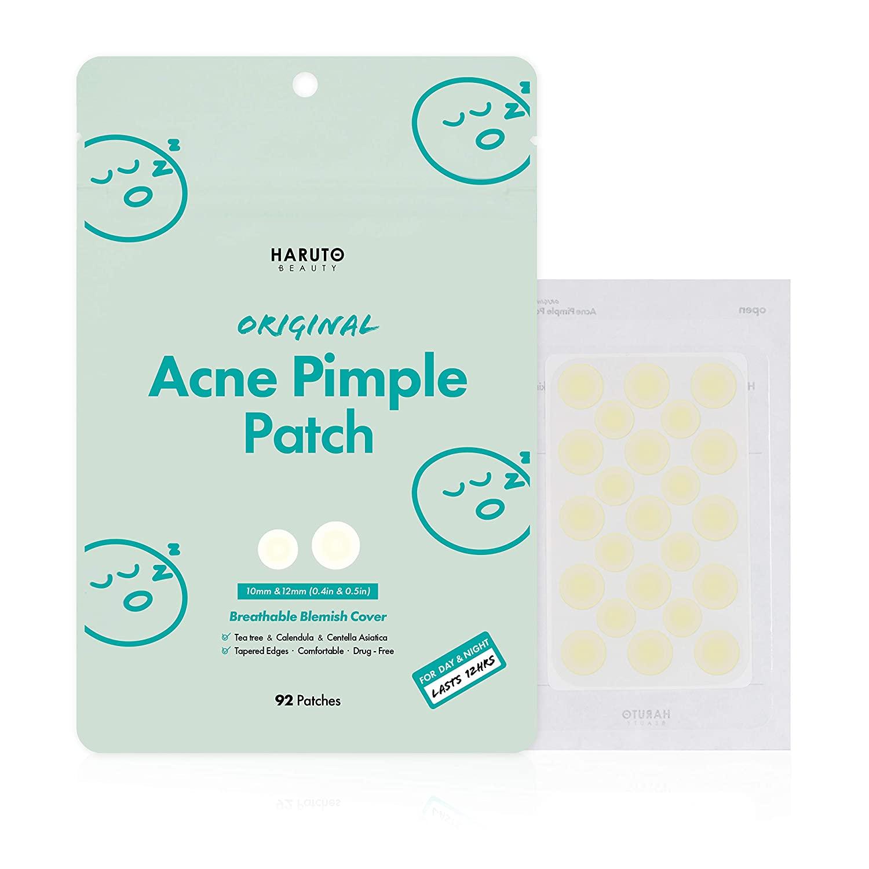 Haruto Original Acne Pimple Patch - 92 patches, Tea Tree, Calendula, Cica (Centella Asiatica), Hydrocolloid Pimple Patch