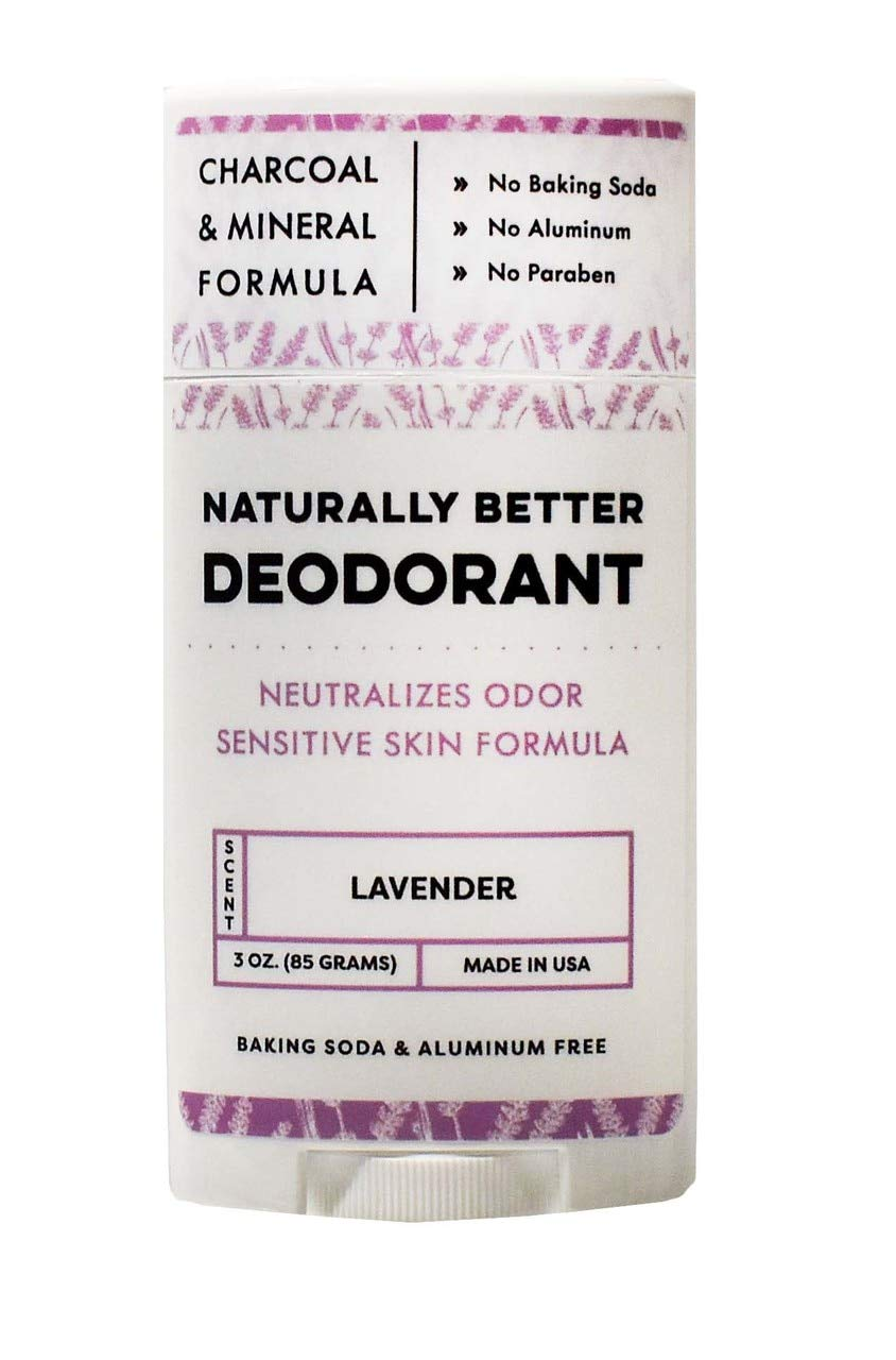 Lavender Naturally Better Deodorant - Magnesium and Charcoal Sensitive Skin Formula Free of Aluminum, Baking Soda, and Junk Ingredients - Made in the USA