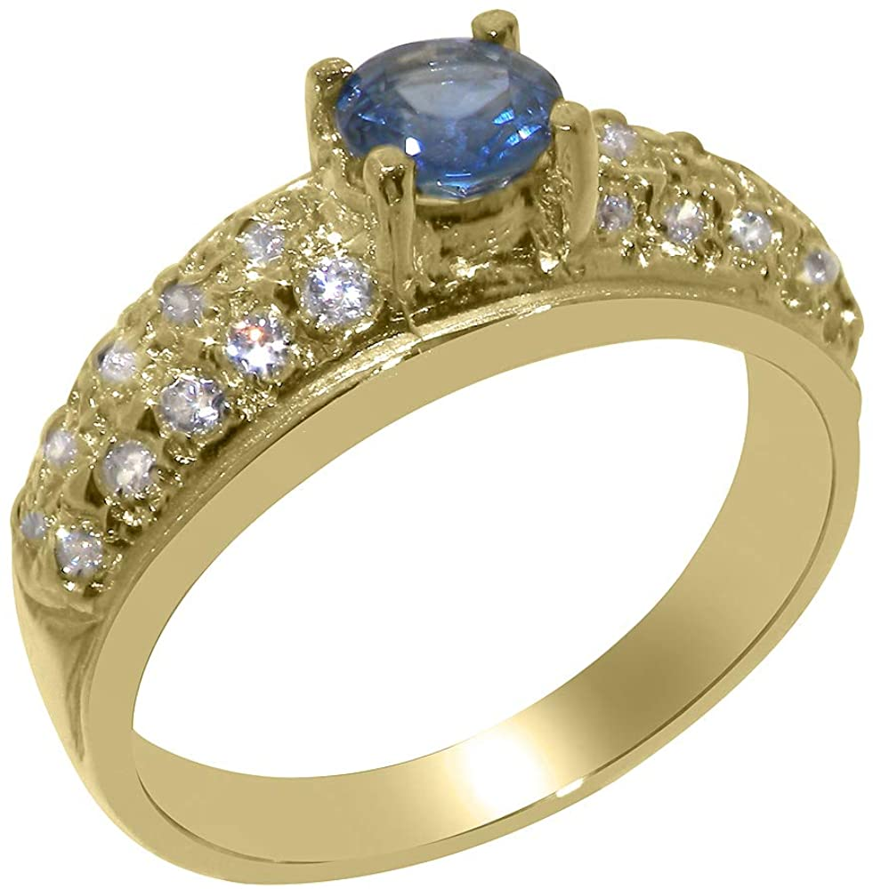 Solid 10k Yellow Gold Natural Sapphire & Cubic Zirconia Womens Band Ring - Sizes 4 to 12 Available