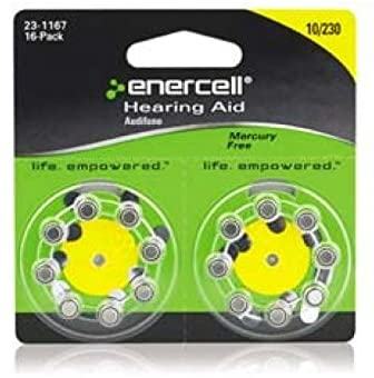 Enercell® Size-10/230 Zinc-Air Hearing Aid Batteries (16-Pk)