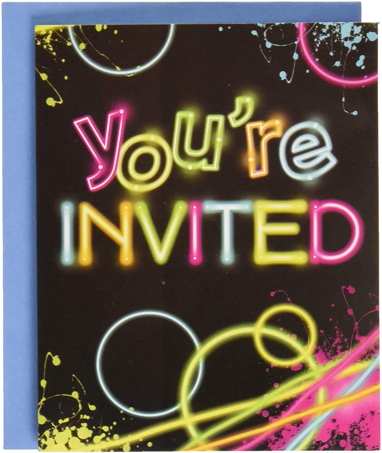 Creative Converting Glow Birthday Party Invitations, Multicolor, One Size