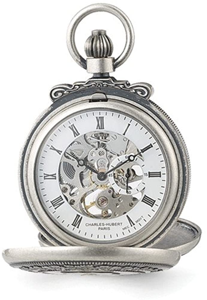 Sonia Jewels Charles Hubert Antique Chrome Finish Skeleton Pocket Watch 14.5