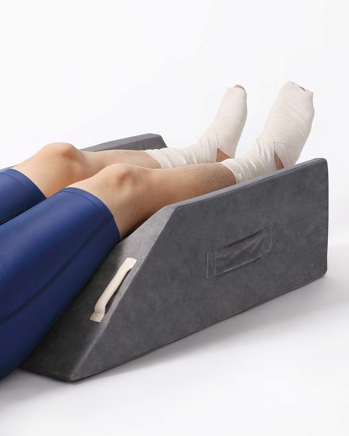 LightEase Post-Surgery Leg, Knee, Ankle Elevation Double Wedge Pillow, Memory Foam Leg Elevating Pillow for Injure, Sleeping, Foot Rest, Reduce Swelling