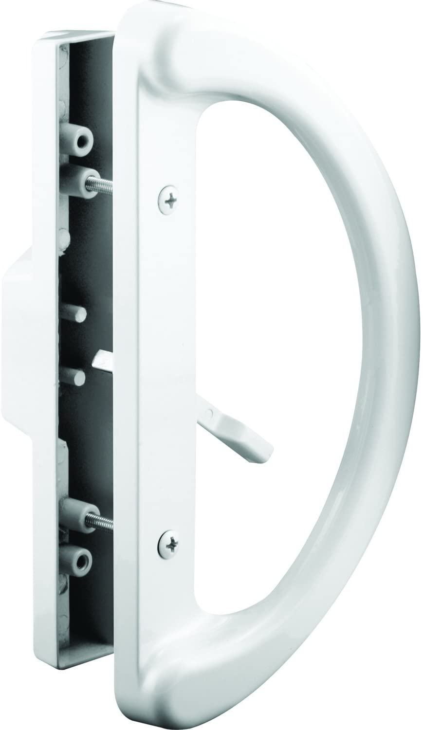 """Slide-Co 143598 Sliding Patio Door Handle Set - Replace Old or Damaged Door Handles Quickly and Easily – White Diecast, Mortise Style, Non-Keyed (Fits 3-15/16"""" Hole Spacing)"""