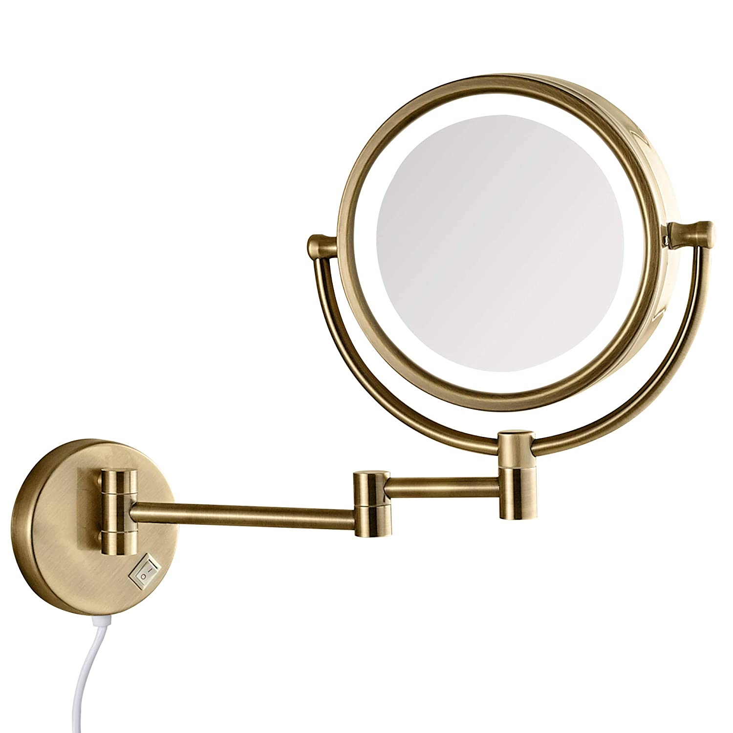 GURUN LED Lighted Makeup Mirror Wall Mounted with 7X Magnification,Antique Brass Finished, Plug Powered, 8.5 Inch, Brass,M1809DK(8.5in,7X)