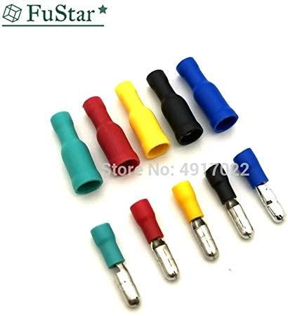 Davitu Terminals - 50pcs/25Set Female/Male Bullet Butt Connector Wire Crimp Terminals Insulated Bullet Terminals 5 Colors MPD1.25-156 FRD1-156 - (Color: Red 25set)