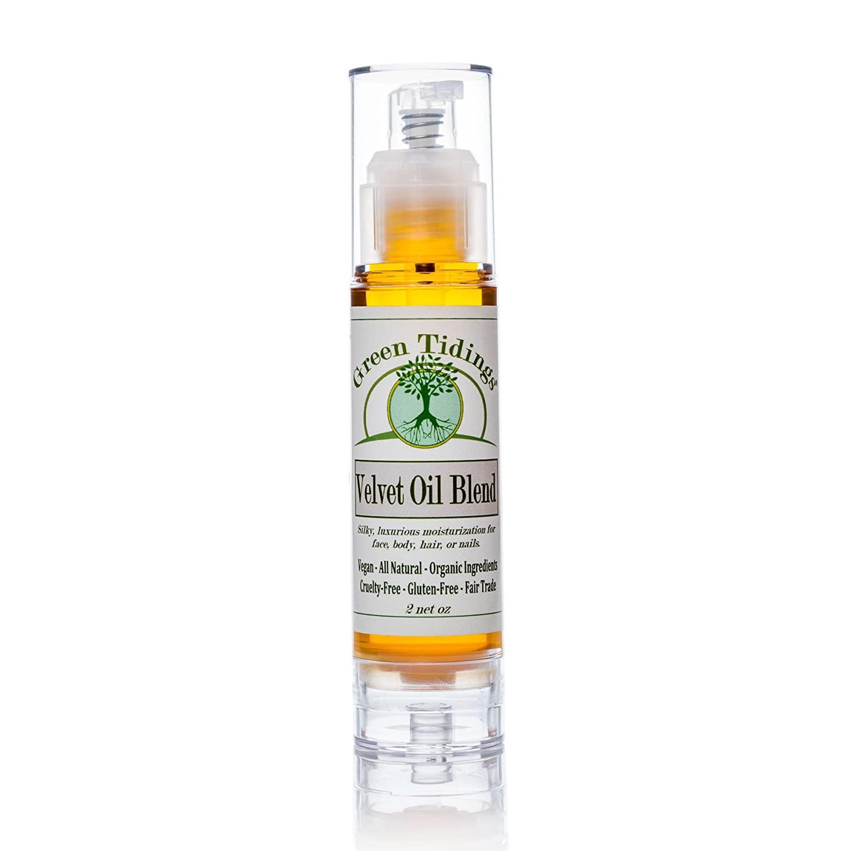 Green Tidings Organic Velvet Oil Blend for Men,Women,Kids,& Babies | Gluten-Free & Fair-Trade Oil Blend| 100% Natural for Healing Hair, Nails, Face & Body